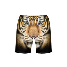 VEEVAN Men Board Shorts Animal Tiger Lion 3D Printing Beach Shorts Quick-dry Short
