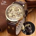Shenhua retro bronze skeleton relógio mecânico automático dos homens relógios top marca de luxo relógio de couro do negócio relogio masculino
