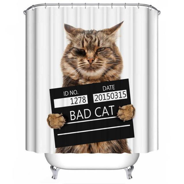 Ouneed Hot Sell Bad Cat Shower Curtain Fabric Waterproof Mildew ...