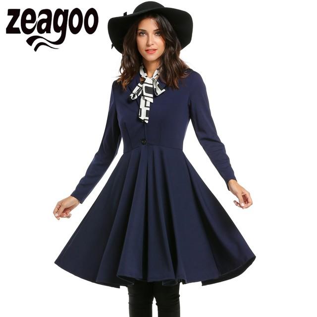 Zeagoo Elegante Trench Coat Mulheres Turn Down Collar Single-breasted Casaco Moda Outono Inverno Sólida Casaco Bainha Plissada Balanço