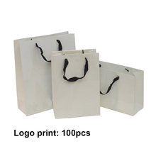 10pcs 200g Custom Paper Gift Bags White With Handles For Gifts Logo Present Dropshipping