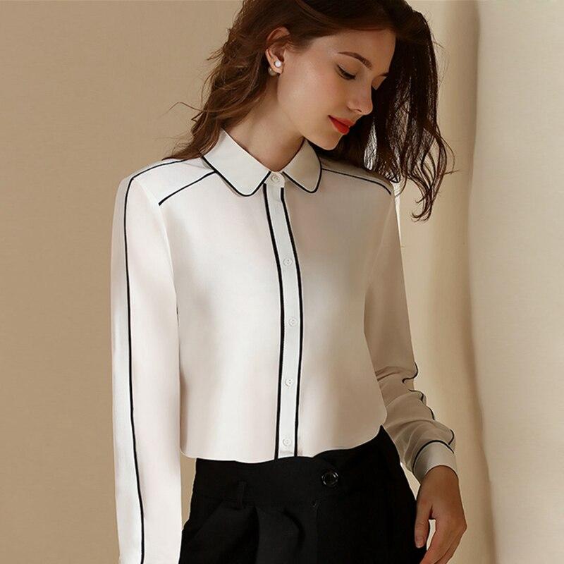 Aliexpress Com Buy New Design Simple But Elegant Short: 100% Silk Blouse Women Shirt Elegant Patch Simple Design