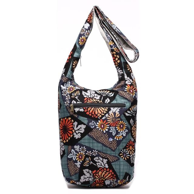 Fashion Women Shoulder Bag Cotton Fabric Sling Shoulder Bag Floral Print Large Capacity Crossbody Messenger Bag 3
