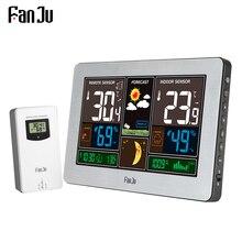 FanJu FJ3378 Draadloze Weerstation Muur Digitale Klok Barometer Thermometer Hygrometer Sensor Forecast Kleurrijke Lcd scherm