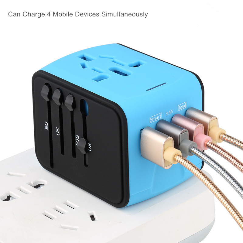 Universal Adapter US UK EU AU Travel Charger Plug International Power Adaptor with 3 4A 4 USB Socket Worldwide Wall Charger in International Plug Adaptor from Consumer Electronics