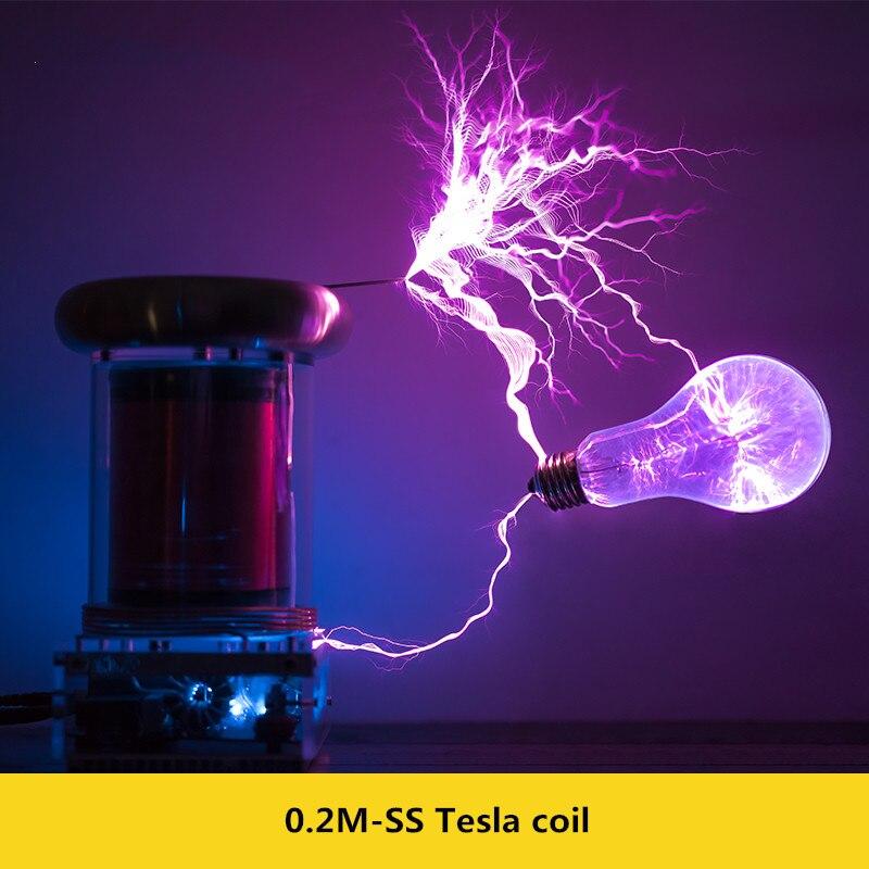 0.2 M Bobina de Tesla de Estado Sólido Bobina de Tesla Música Relâmpago Tempestade TEMPESTADE com RAIOS Y