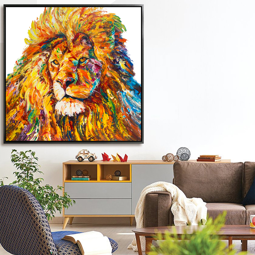 Lion King Colorful Modern Art Palette Knife Painting Texture Oil Painting On Canvas For Living Room Decoration Wall Lion King Colorful Modern Art Palette Knife Painting Texture Oil Painting On Canvas For Living Room Decoration Wall