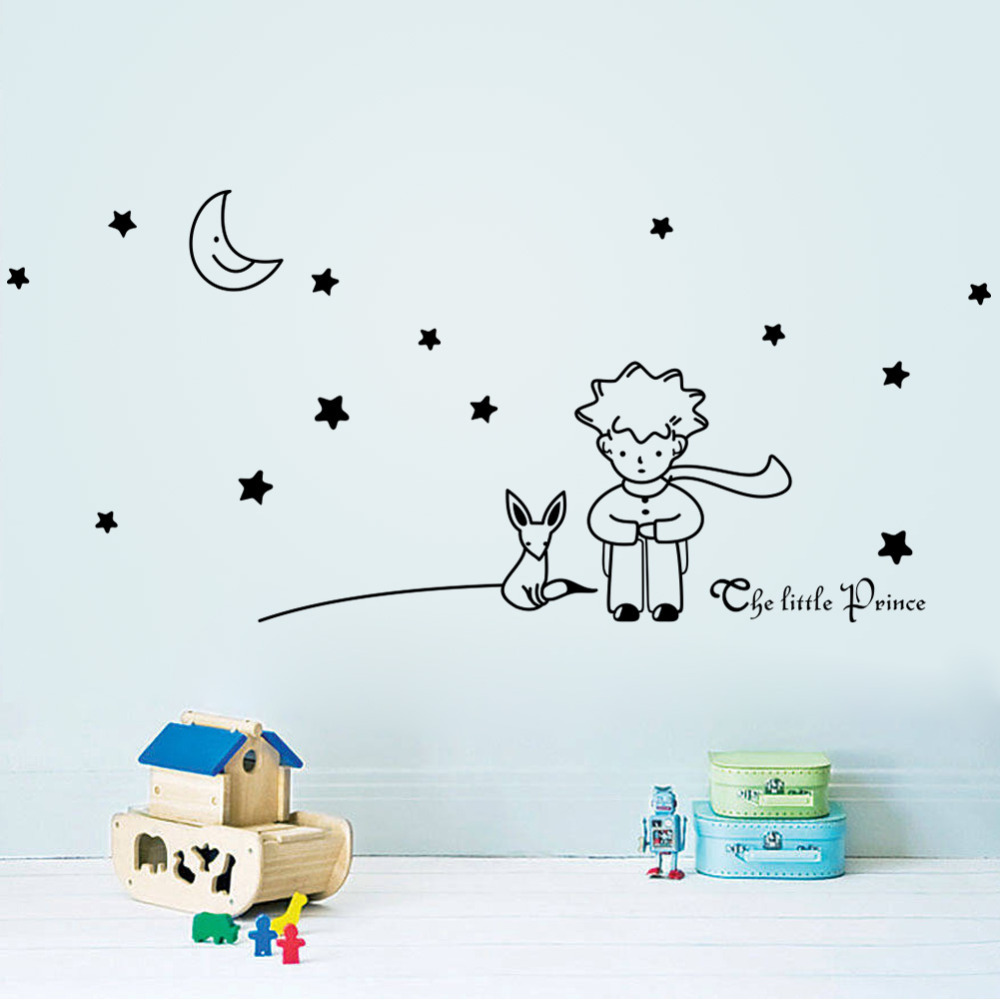 96*42cm Stars Moon The Little Prince Fox Graphic Wall Vinyl Children Fairy Tale Sticker decals for kids room nursey decor