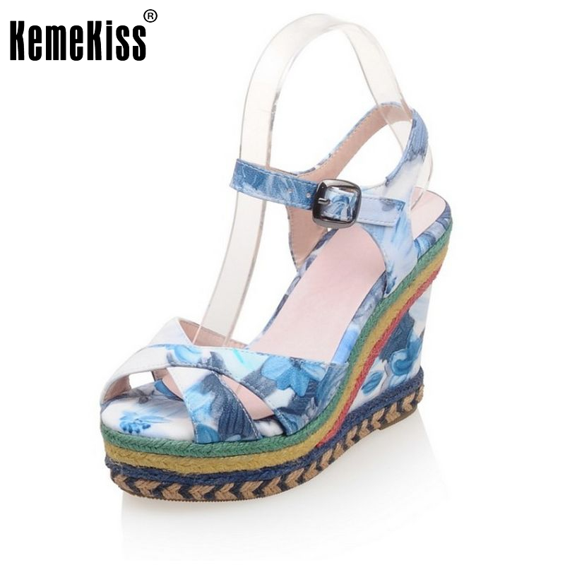 ФОТО women mixed color sandals sexy wedges high heels footwear party leisure shoes open toe fashion women sandals size 32-43 PC00031