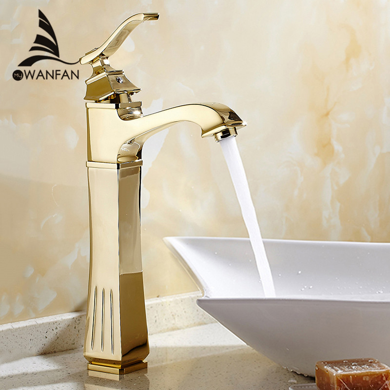 Basin Faucets Antique Brass Gold Color Faucet Tall Bathroom Faucet Bath Basin Mixer Tap with Hot and Cold Sink Faucet 9203 new designed antique brass bamboo arts bathroom basin sink drain pop up waste vanity with overflow
