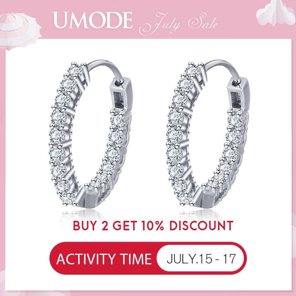 UMODE Huggie Round Circle 925 Sterling Silver Earrings Girls Engagement Silver Hoops Earrings for Women Fine Jewelry ULE0389