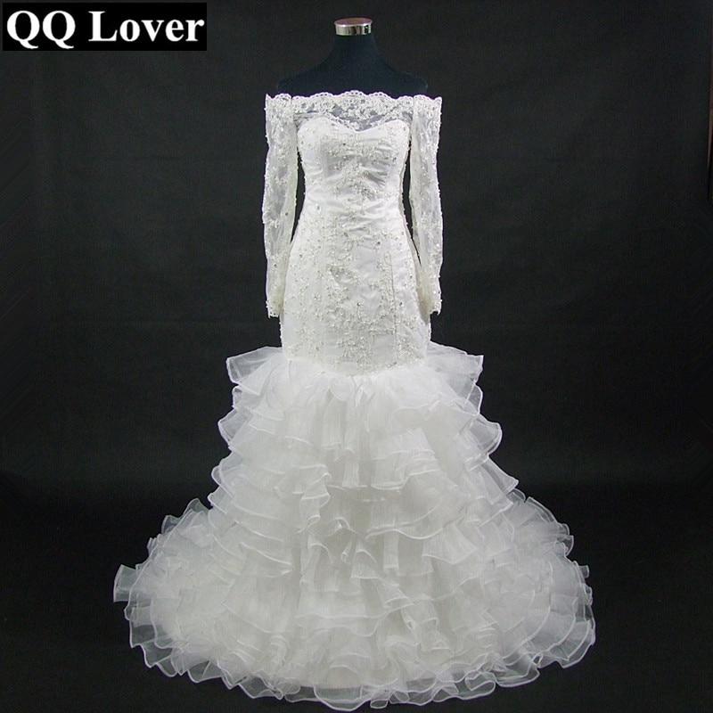 QQ Lover 2018 Mermaid Wedding Dress With Video Custom made