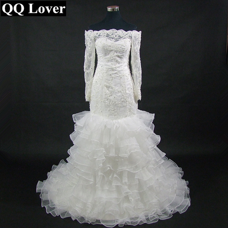 QQ Lover New African Mermaid Wedding Dress With Organza Ruffles 2019 Custom Made Wedding Gowns Wedding Dresses