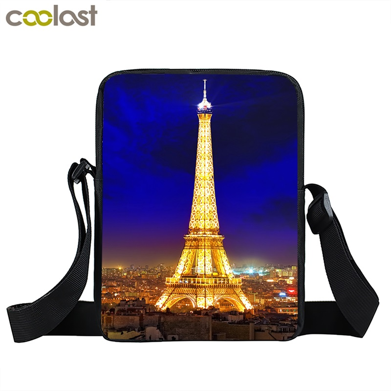 Portable Shoulder Bag Women's Fashion Crossbody Bag Paris Eiffel Tower Print Messenger Bag for Ladies Casual Tote Bags aosbos fashion portable insulated canvas lunch bag thermal food picnic lunch bags for women kids men cooler lunch box bag tote