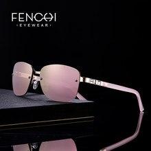 FENCHI-gafas de sol de estilo retro para mujer, anteojos de sol femeninos de marca de diseñador, sin montura, con espejo rosa, a la moda