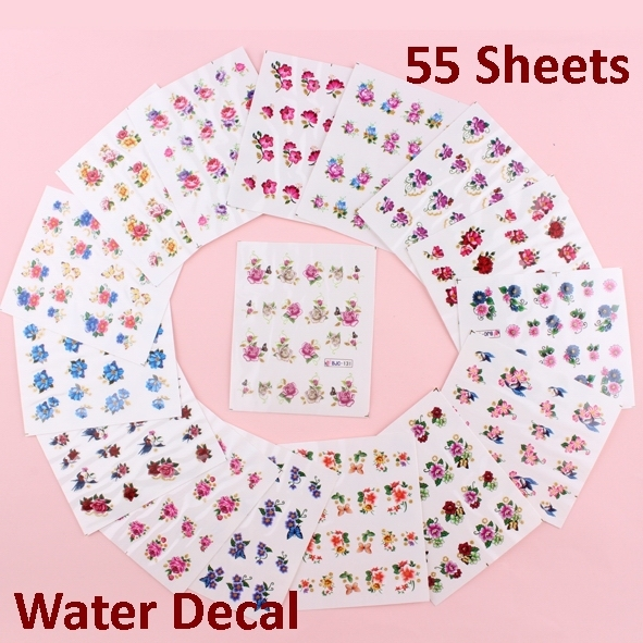 55 Sheets X Gold Glitter Nail Art Decals Stickers Water Transfer Wraps Erfly Flowers