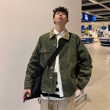 Mens Spring Workwear Pocket Corduroy Collar Stitching Jacket Japanese Harajuku Style Loose Army Green Khaki Top coat