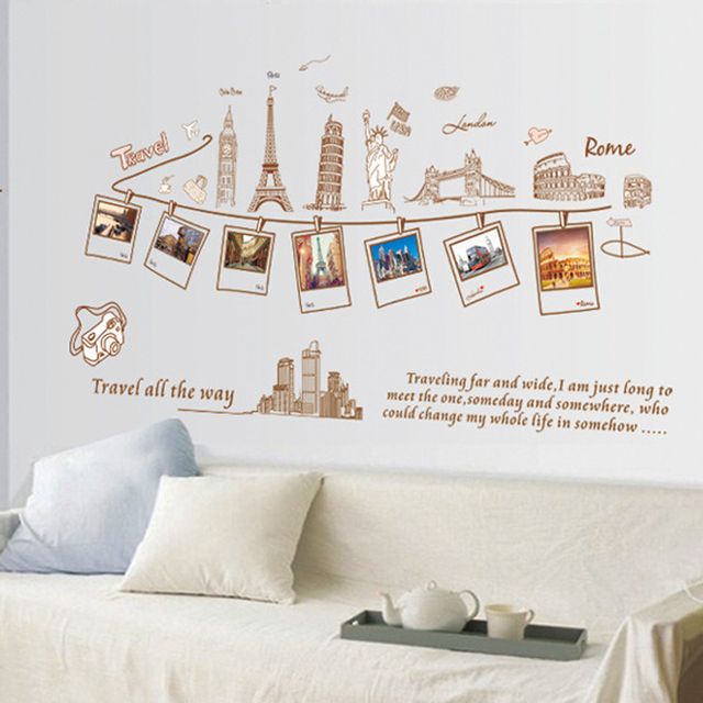 Photo Frames Eiffel Tower Wall Decal Home Sticker Paper Removable ...