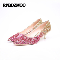 Wedding And Prom Low Kitten Heel Shoes Wine Red Silver Gold Glitter Pointed Toe High Heels