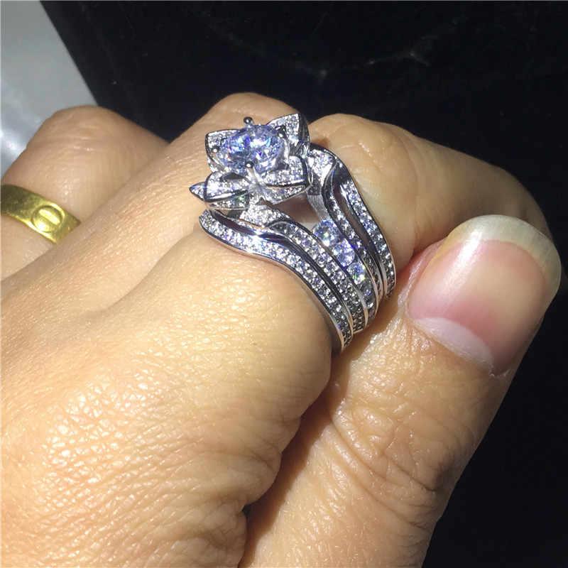 Vecalon 3-em-1 conjuntos anel de Flor 925 sterling silver AAAAA Cz anéis de casamento Banda de Noivado para as mulheres homens de Luxo Dedo Jóias