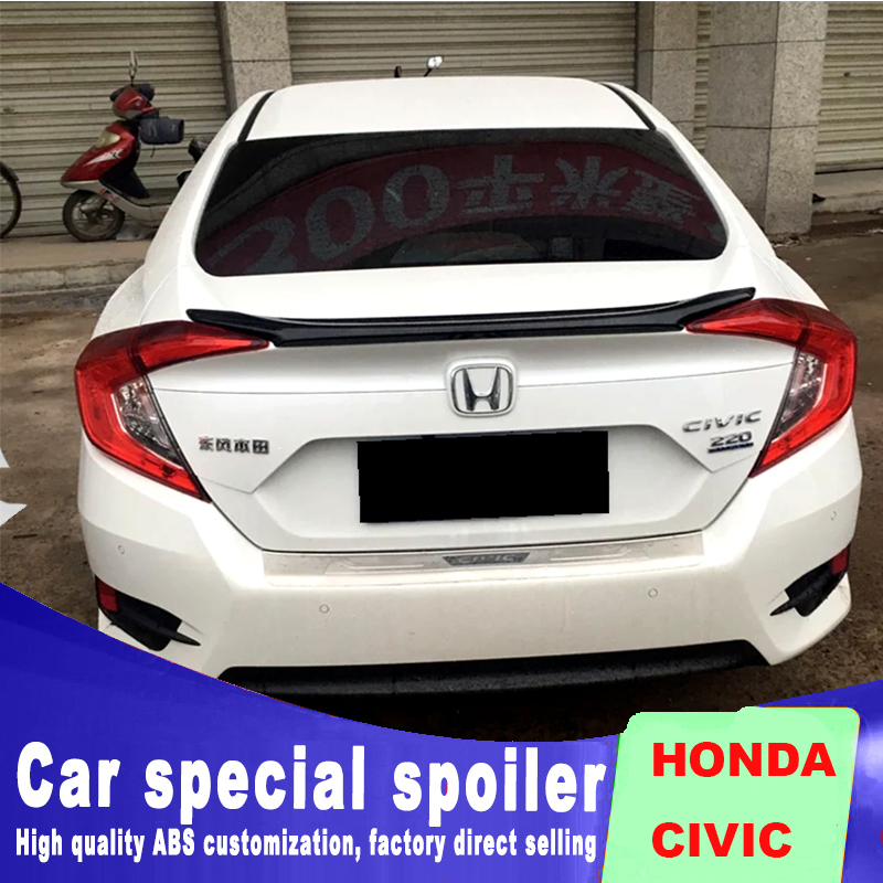Golden Code modes for honda civic 2016 2017 to up spoilers Car Rear trunk fixed Wings Primer Color by spoiler