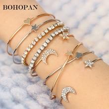 hot deal buy 4pcs/set crystal bracelets & bangles for women gold silver star moon heart bangles bohemia fashion jewelry pulseras femme 2018