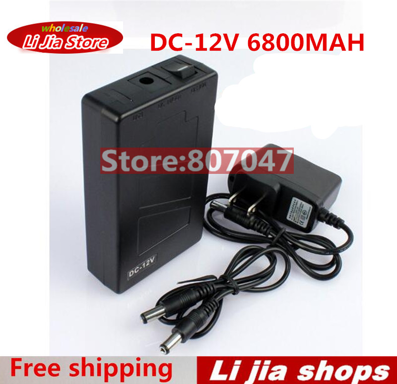 Free Shipping DC 12V 6800mah Rechargeable Li-ion Lithium Battery Batteries for CCTV camera 12v 1800mah rechargeable portable emergency power li ion battery for cctv devices