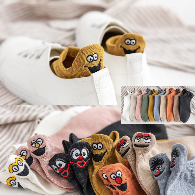 Kawaii Embroidered Expression Women Socks Happy Fashion Ankle Funny Socks Women Cotton Summer 1 Pair Candy Color