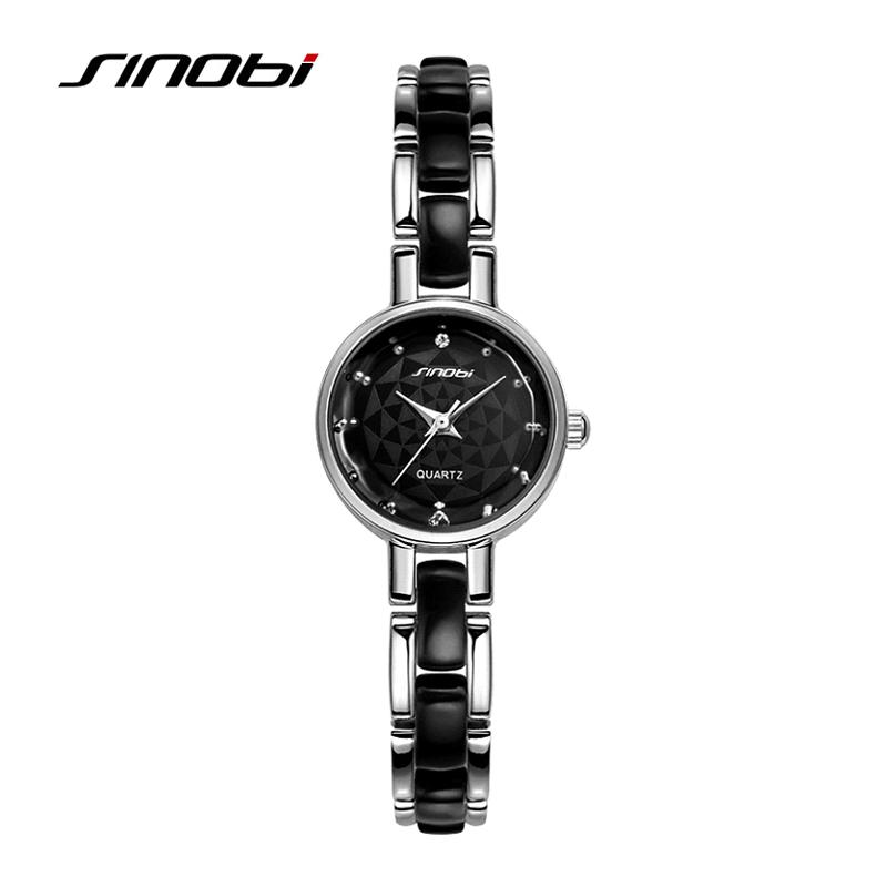 Prix pour Relojes mujer 2016 Sinobi marque de luxe diamant horloge femme Quartz femmes montres mesdames robe argentée fille Bracelet montre - Bracelet