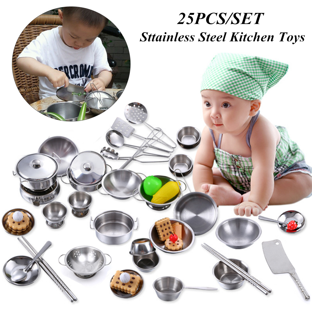 25 Pcs Smooth Stainless Steel Pretend Play Kitchen Toys Children Kids Mini Model Kitchenware Cookware Cooking Toys Safety
