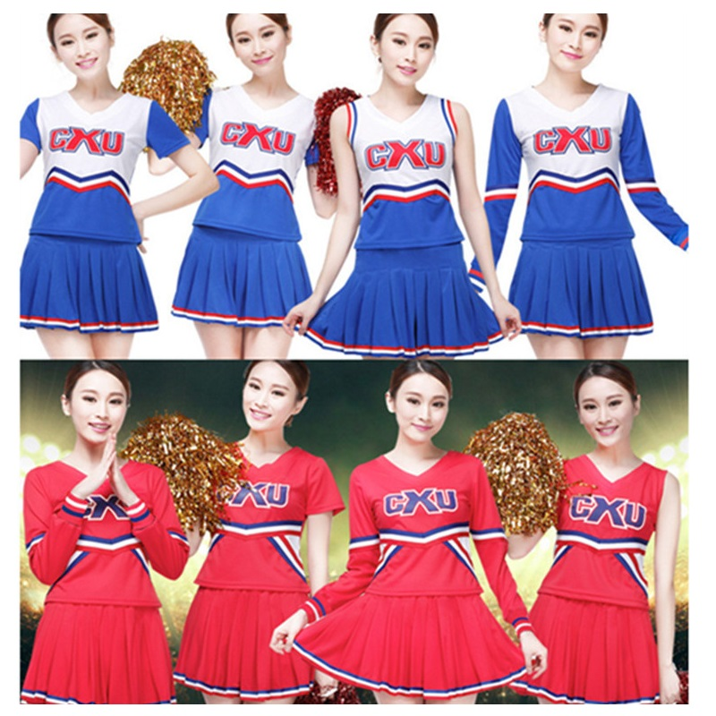 High School Cheerleader Costume Cheer Boys Girls Uniform Party Outfit Women Fancy Dress Kids Musical Glee Baseball Men Adults