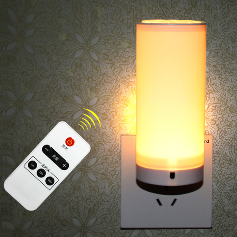 Led Night Light Lamp 1.5W AC220V Remote Control 10 levels Dimmer bedroom wall Bedside plug small Socket lamps keyshare dual bulb night vision led light kit for remote control drones