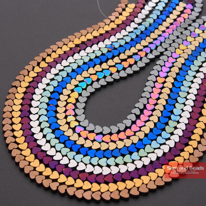 Оптовые Бусины из натурального камня 5x6 мм, гематит, сердечко, изготовление браслета ожерелья, розовое золото, черное серебро, платформа 80 шт...