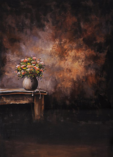 Background Canvas Painting Flower Pots Photography