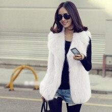 New Arrival  Winter Women Faux Fox Fur Shaggy Waistcoat Jacket Long Hair Lapel Vest Coat Outwear S-XXL