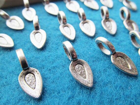 30pcs Antique Silver tone/Antique Bronze Raindrop Base Bails Beads Connector Pendant Cham Finding,Fit Charm Bracelet Necklace