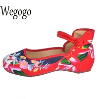 New Chinese Women Flats Old Beijing Cloth Embroidery Shoes Retro National Floral Embroidered Dance Soft Canvas