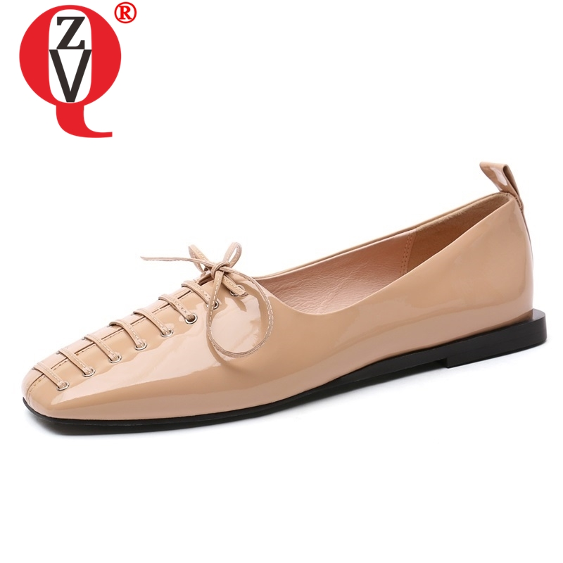 ZVQ 2019 spring new fashion patent leather women flats outside comfortable hot sale women shoes square