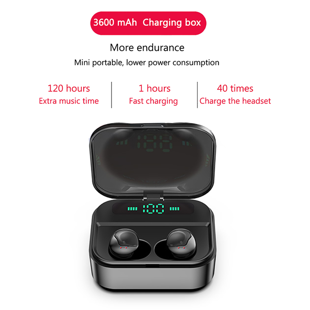 TWS Touch Control Bluetooth Earphone Waterproof Stereo Binuaral Earbuds Invisible Music Call Headset with 3600 mAh Charging Box in Bluetooth Earphones Headphones from Consumer Electronics