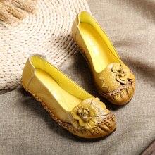 AARDIMI/Женская обувь на плоской подошве из натуральной кожи ручной работы; повседневные женские лоферы в винтажном стиле с цветочным принтом; женская обувь на плоской подошве без застежки