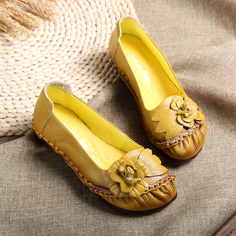 AARDIMI Handmade Genuine Leather Women Flats Shoes Casual Female Loafers Vintage flowers Shallow Slip On Flat Shoes WomanAARDIMI Handmade Genuine Leather Women Flats Shoes Casual Female Loafers Vintage flowers Shallow Slip On Flat Shoes Woman
