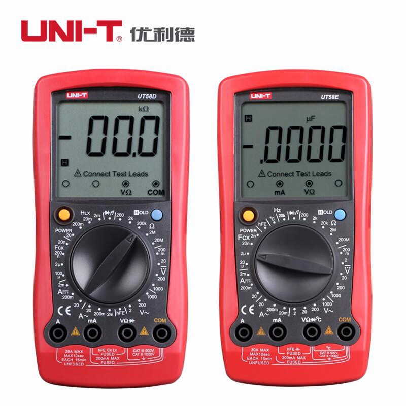 UNI-T UT58E 4 1/2 Digital Multimeters range w/ frequency temperature test ammeter Multitester uni t ut30c original authentic data handed hold digital multimeters temperature test