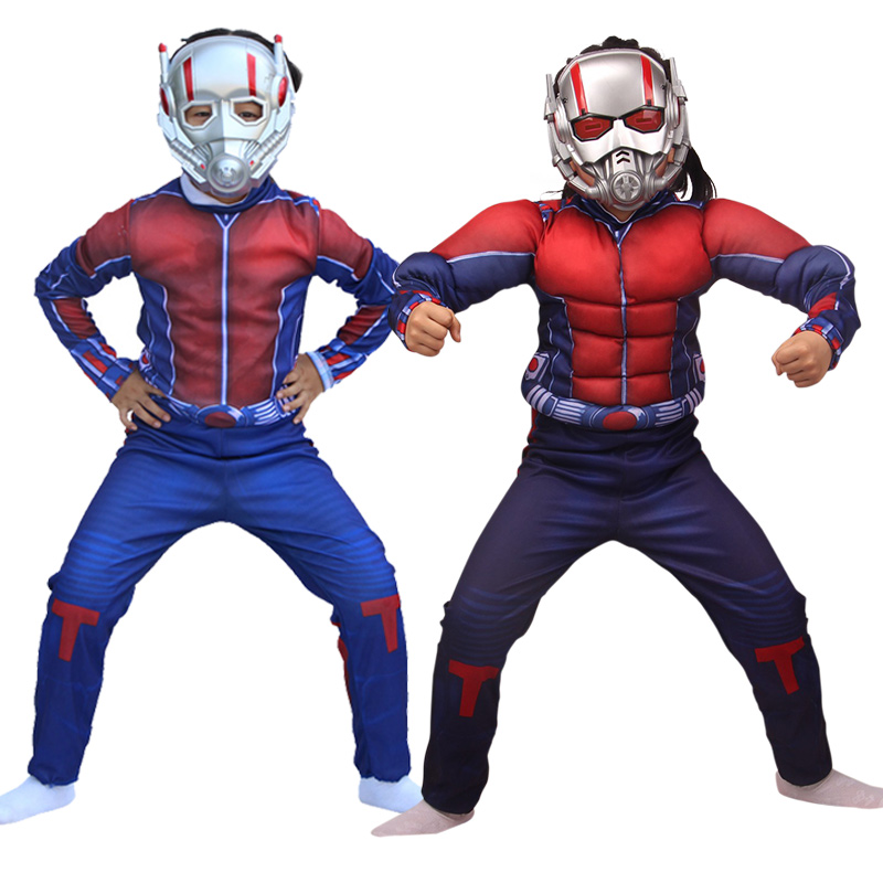Free shippingAvengers Iron Man Cosplay costume Hulk Ant Man Clothes Holiday Costume for Kids Carnival party dress Mask Muscle