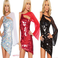 1920s Latin dance dress night club Sexy Bling Bling sequin dress Indian dancer Tassel fringe Ballroom Gown DS service dress