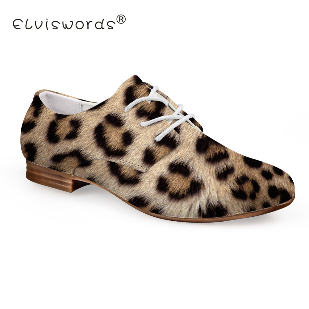 ELVISWORD New Women Leopard Flats Leisure Spring Summer Leather Shoes for  Office Lady London Style 657e88ab5