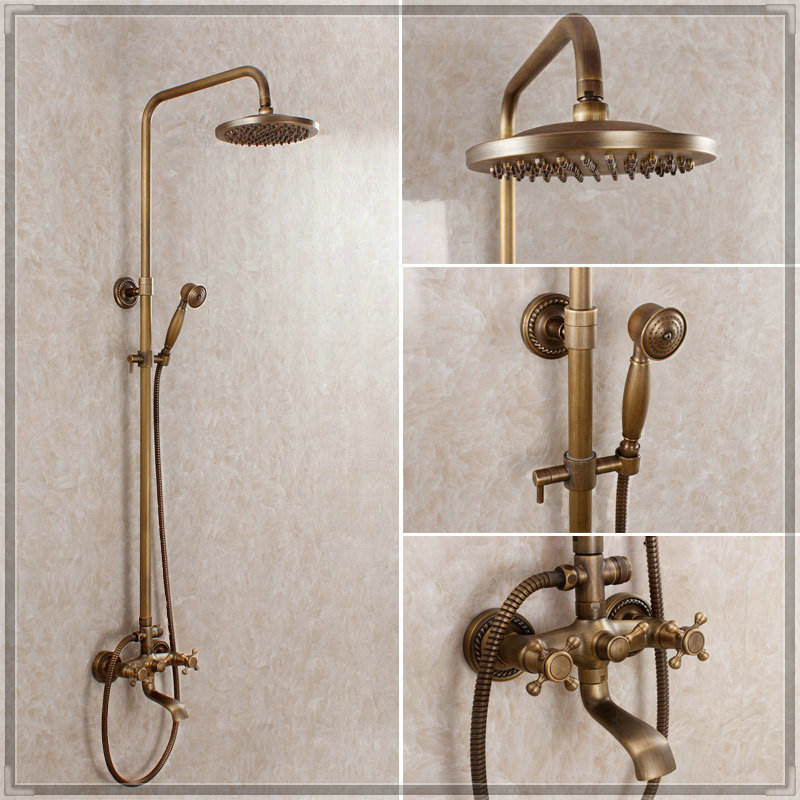 Antique Bronze Bathroom Faucet Luxury Shower Set Multifunctional Shower Set Bathroom  Accessories Sets Sample And Economic