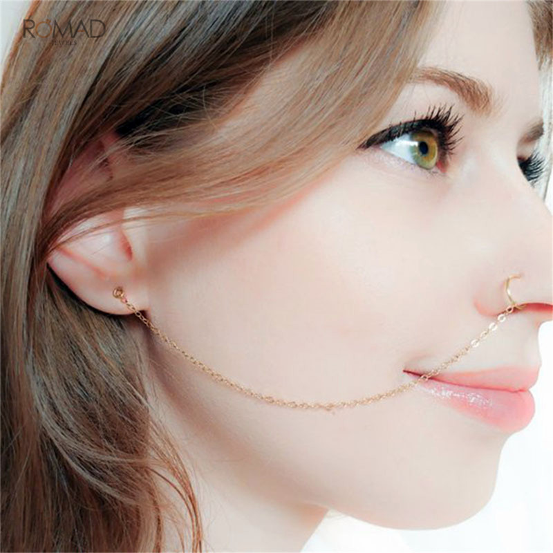 Romad Punk Silver Gold Copper Clip On Nose Lip Ear Chain For Women