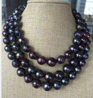 Одинарная прядь 13 14 мм таитянское барокко черный красный зеленый жемчуг ожерелье 38 дюймов