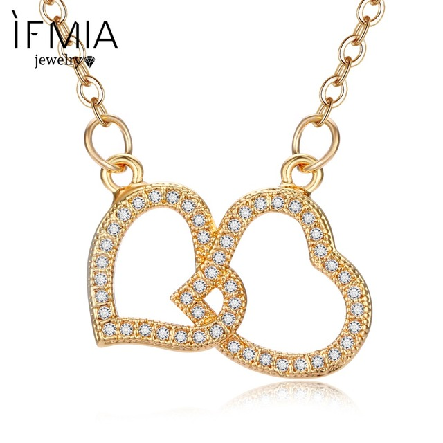 IFMIA Cute Crystal Heart Pendant Necklace Cubic Zirconia Valentine's Day  Gift Preferred Female Jewelry New Fashion Jewelry Gift