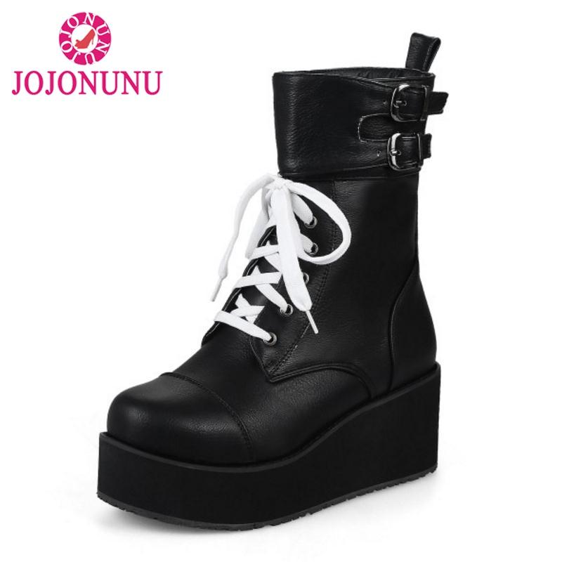 online retailer 80030 c33cd JOJONUNU Größe 34-46 Frauen Hohe Keile Stiefel Metall Schnalle Lace Up Pelz  Winter Stiefeletten Mode Klassische Warme frauen Schuhe